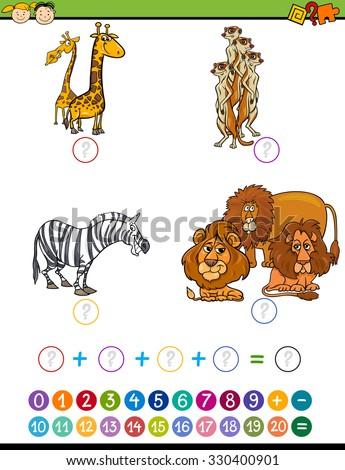 Cartoon Illustration of Education Mathematical Addition Task for Preschool Children with Safari Animals - stock vector