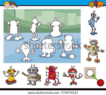 Cartoon Illustration of Educational Activity Task for Preschool Children with Robot Characters
