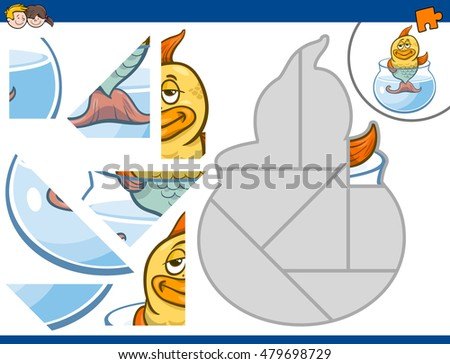 Cartoon Illustration of Educational Jigsaw Puzzle Activity for Children with Gold Fish Animal Character