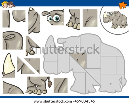 Cartoon Illustration of Educational Jigsaw Puzzle Activity for Preschool Children with Rhinoceros Animal Character