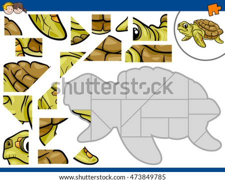 Cartoon Illustration of Educational Jigsaw Puzzle Activity for Preschool Children with Sea Turtle Animal Character