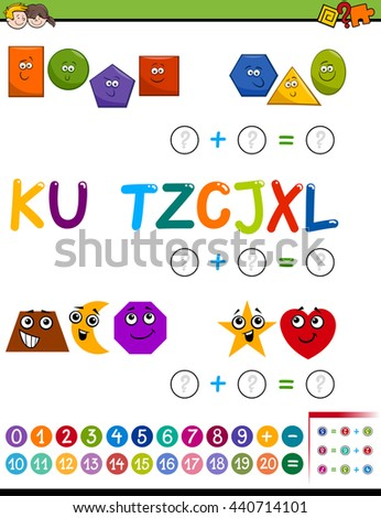 Cartoon Illustration of Educational Mathematical Addition Activity Task for Preschool Children with Shapes and Letters - stock vector