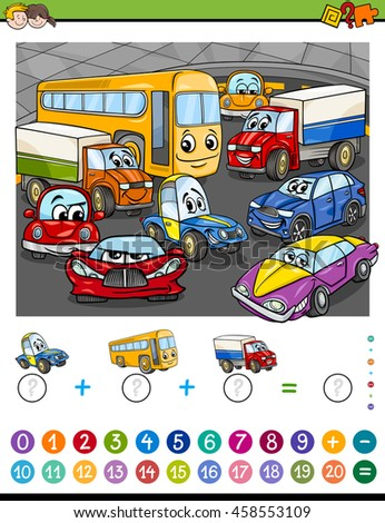 Cartoon Illustration of Educational Mathematical Counting and Addition Activity Task for Children with Cars