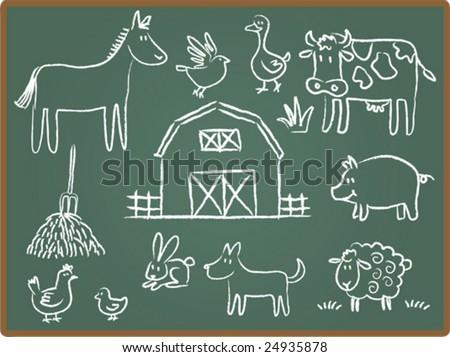 Cartoon Illustration of farm animal on Chalkboard - stock vector