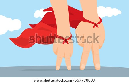 Cartoon illustration of father and son hand super hero with cape