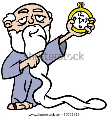 Cartoon illustration of Father Time with an extra long white beard pointing at a watch reminding us time is running out - stock vector