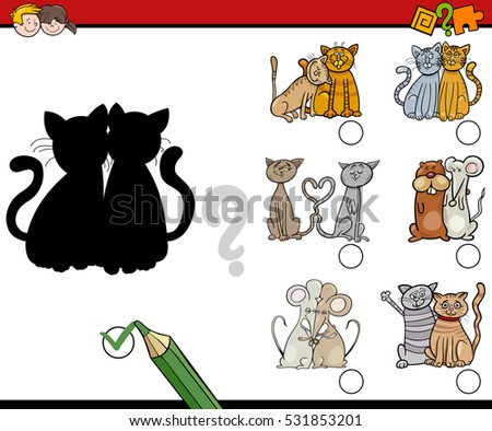 Cartoon Illustration of Find the Shadow Educational Activity for Children with Funny Animal Characters