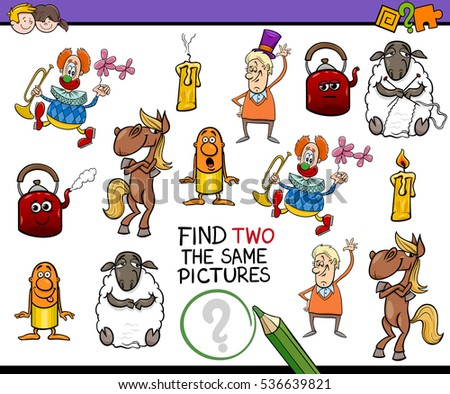 Cartoon Illustration of Find Two Exactly the Same Pictures Educational Activity for Children