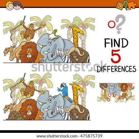 Cartoon Illustration of Finding Differences Educational Activity Task for Children with Safari Animal Characters