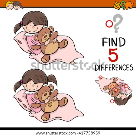 Cartoon Illustration of Finding Differences Educational Activity Task for Preschool Children with Girl and Teddy - stock vector