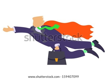 cartoon illustration of flying businessman with red coat