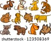 Cartoon Illustration of Funny Different Dogs or Puppies Set - stock vector