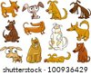 cartoon illustration of funny different dogs set - stock vector