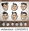 Cartoon Illustration of Funny People Set with Men Heads plus Black and White versions - stock photo