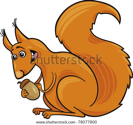 Cartoon illustration of funny red squirrel