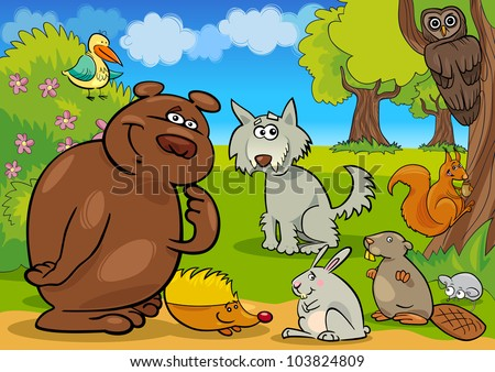 cartoon illustration of funny wild forest animals - stock vector