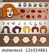 Cartoon Illustration of Funny Woman Face Elements such Eyes, Lips, Noses, Heads and Hair for Animation or Application - stock vector