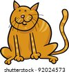 cartoon illustration of funny yellow sitting cat - stock vector