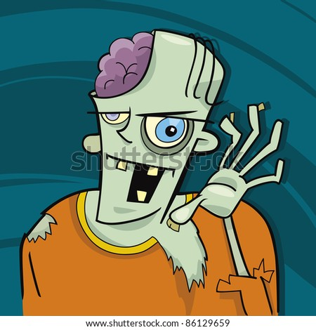 cartoon illustration of funny zombie - stock vector