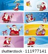 Cartoon Illustration of Greeting Cards with Santa Clauses and Christmas Themes set - stock vector