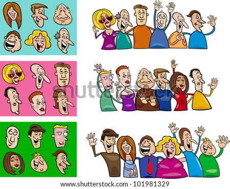 cartoon illustration of happy people big set