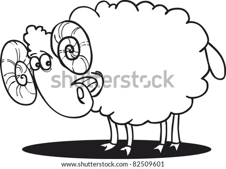cartoon illustration of happy ram for coloring book