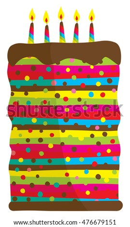 Cartoon Illustration Huge Colorful Birthday Cake Stock Photo Photo