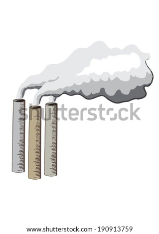 Cartoon illustration of industrial chimneys emitting smoke - stock vector