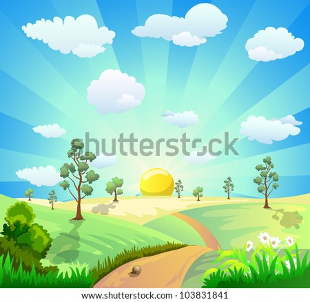 cartoon illustration of landscape with shiny sun - stock vector