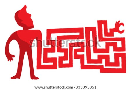 Cartoon illustration of man searching with complex maze arm - stock vector