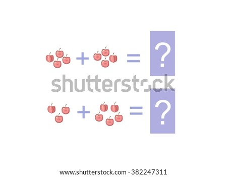 Cartoon illustration of mathematical addition and subtraction. Examples with apples. Educational game for children. - stock vector