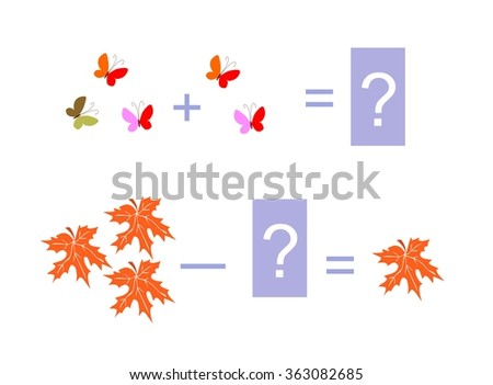 Cartoon illustration of mathematical addition and subtraction. Examples with butterflies and maple leaves. Educational game for children. - stock vector