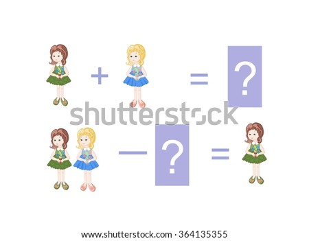 Cartoon illustration of mathematical addition and subtraction. Examples with little girls. Educational game for children. - stock vector