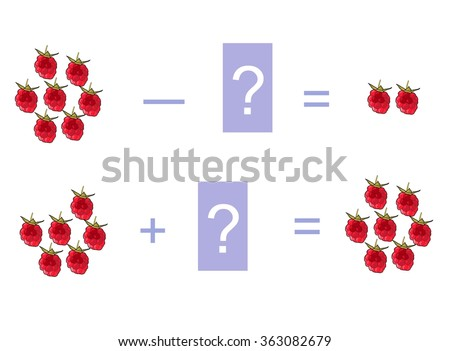 Cartoon illustration of mathematical addition and subtraction. Examples with raspberries. Educational game for children. - stock vector