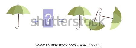 Cartoon illustration of mathematical addition. Example with umbrellas. Educational game for children. - stock vector
