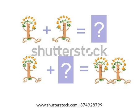Cartoon illustration of mathematical addition. Examples with funny pear trees. Educational game for children. - stock vector