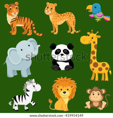 cartoon illustration of nine baby animals, individual objects very easy to edit, ideal for childs decoration