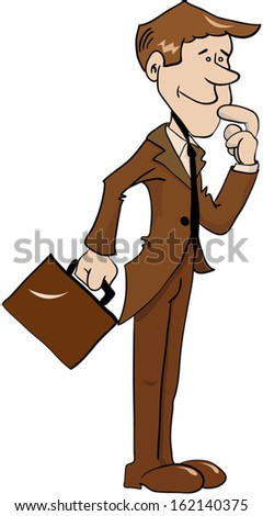 cartoon illustration of office man with suitcase