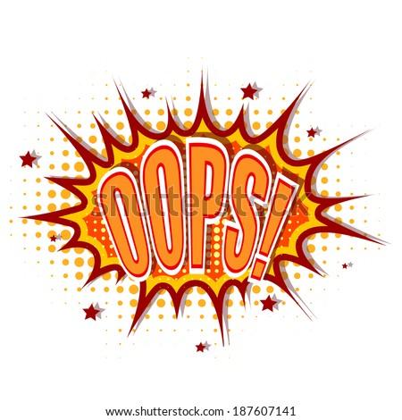 Cartoon illustration of oops - stock vector