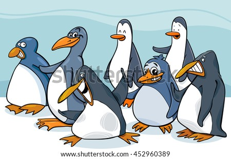 Cartoon Illustration of Penguins Birds Animal Characters Group
