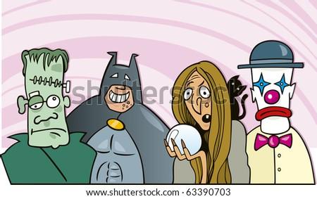 cartoon illustration of people on fancy dress ball - stock vector