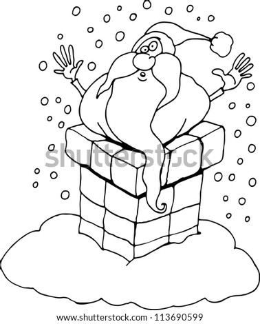 Cartoon Illustration of Santa Claus or Father Christmas or Papa Noel Stucked in Chimney for Coloring Book or Page
