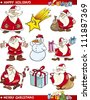 Cartoon Illustration of Santa Clauses, Christmas Star and other Themes set - stock vector