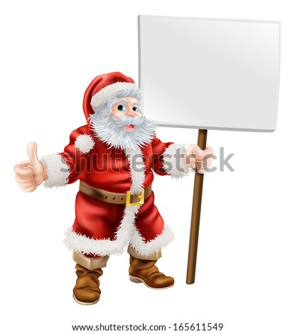 Cartoon illustration of Santa holding sign and doing thumbs up - stock vector