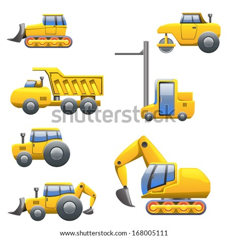 cartoon illustration of set of different yellow type of tractors and heavy machines view from left side - stock vector