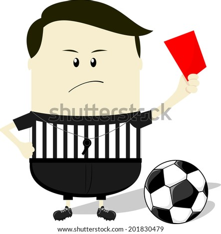 cartoon illustration of soccer referee showing red card - stock vector