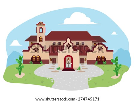 Cartoon illustration of Spanish Mediterranean house or Mexican Villa in a Ranch during daytime.