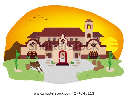 Cartoon illustration of Spanish Mediterranean house or Mexican Villa in a Ranch during sunset. Typical home design in California and Hispanic countries. - stock vector