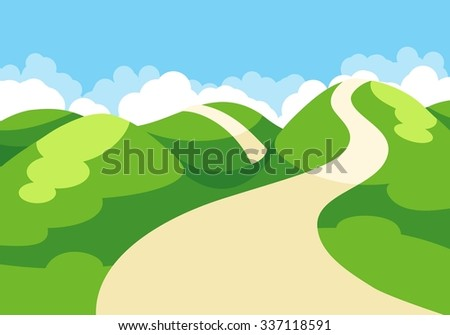 Cartoon illustration of spring landscape with blue sky and green hills - stock vector
