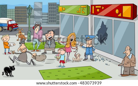 Cartoon Illustration of Street Situation with Running Thief and Onlookers People